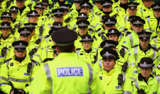 Police are addressed by a senior officer