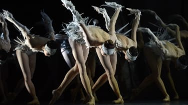 """Dancers with the Les Ballets de Monte-Carlo perform a scene from """"LAC (After Swan Lake) """" during a dress rehearsal at theNew York City Center March 13, 2014. Les Ballets de Monte-Carlo will c"""