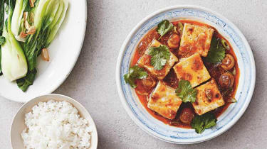 Ma Po tofu with button mushrooms recipe from Tofu Tasty by Bonnie Chung