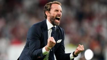 England head coach Gareth Southgate celebrates after the semi-final win over Denmark