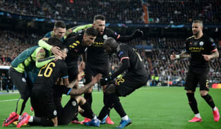 Man City players celebrate Gabriel Jesus's goal against Real Madrid