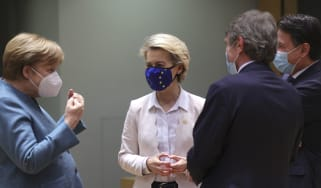 Angela Merkel and Ursula von der Leyen in the European Parliament