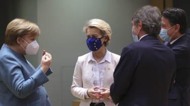 Angela Merkel and Ursula von der Leyen in the European Parliament