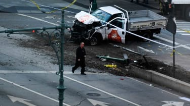 Wreckage of the rental truck used to kill eight people in New York attack