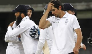 Alastair Cook, England's Captain, reacts to the match draw against Sri Lanka