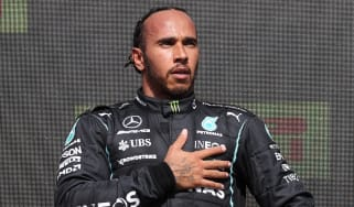 Lewis Hamilton on the podium following his win at Silverstone