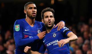 Chelsea midfielder Cesc Fabregas celebrates the winning goal against Derby County