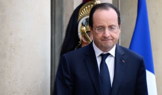 French President Francois Hollande looks on after meeting with Abu Dhabi Crown Prince, a week before a major peace conference opens on Syria, at the Elysee palace in Paris on January 16, 2014