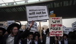 Ultra-orthodox Jewish protestors