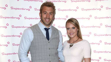 LONDON, ENGLAND - APRIL 23:Chris Robshaw and Camilla Kerslake attends the Superdrug 50th Birthday celebration at One Marylebone on April 23, 2014 in London, England.(Photo by Tim P. Whitby/Ge