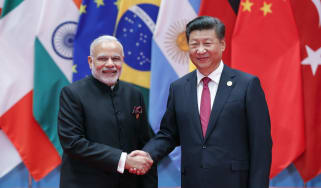 Narendra Modi and Xi Jinping at a G20 Summit in 2016