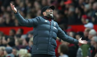 Liverpool manager Jurgen Klopp reacts after Manchester United's opening goal at Old Trafford