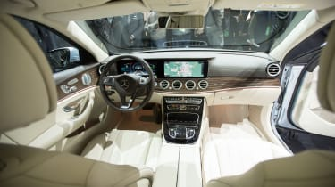 The large screens are a prominent feature in the new Mercedes-Benz E-Class sedan which the company unveiled at the 2016 North American International Auto Show in Detroit, Michigan, January11,