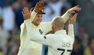 Joe Root and Jack Leach celebrate England's victory in the fifth Ashes Test against Australia