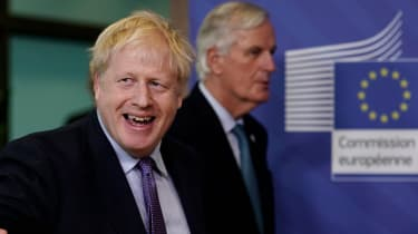 Boris Johnson and Michel Barnier at the European Commission in Brussels