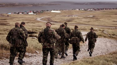 Soldiers on a training exercise in Stanley, Falkland Islands