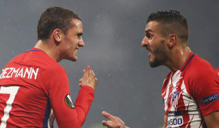 Atletico Madrid forward Antoine Griezmann and midfielder Saul Niguez