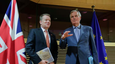 Lord Frost and Michel Barnier at the first round of post-Brexit trade talks in March