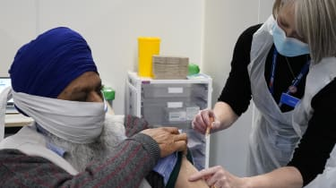 A man receives his Covid vaccine in Wolverhampton