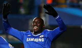 Demba Ba in Champions League quarter-final match between Chelsea and Paris Saint Germain