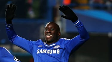 Demba Ba in Champions League quarter-final match between Chelsea and Paris Saint Germain