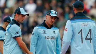 England's Jason Roy (centre) was injured in the Cricket World Cup victory against the West Indies