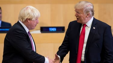 Boris Johnson and Donald Trump greet before a meeting on United Nations Reform at the UN headquarters in New York