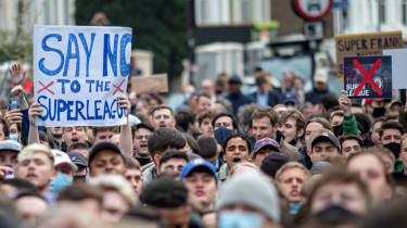 Chelsea fans protested against the Super League outside Stamford Bridge