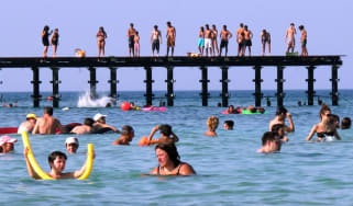 Holidaymakers at a beach in Protaras, Cyprus
