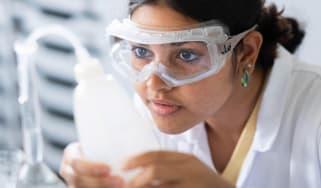 A schoolgirl in a science class