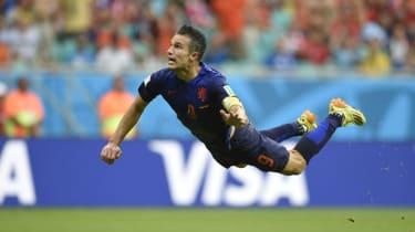 Robin van Persie scores a stunning equaliser against Spain