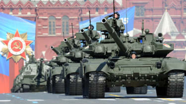 A column of Russian T-90 tanks rolls through Red Square