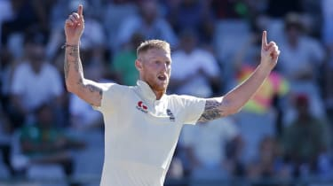 England all-rounder Ben Stokes celebrates the dismissal of South Africa's Dwaine Pretorius