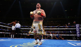 Andy Ruiz Jr celebrates his seventh-round TKO against Anthony Joshua in New York
