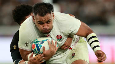 England No.8 Billy Vunipola in action against the All Blacks at the Rugby World Cup
