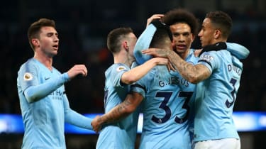 Manchester City winger Leroy Sane celebrates the second goal against Cardiff City at the Etihad