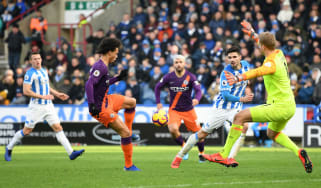 Leroy Sane scored Manchester City's third goal against Huddersfield Town