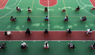 Students sit university exams in Hong Kong