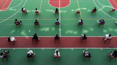 Students sit university exams in Hong Kong