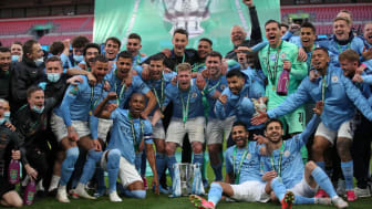 Man City celebrate their League Cup final win over Tottenham
