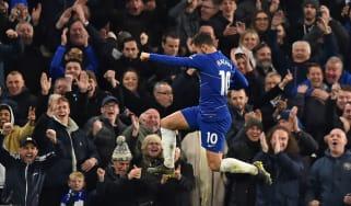 Chelsea attacker Eden Hazard celebrates scoring against Brighton at Stamford Bridge