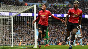 Chris Smalling goal Man City vs Man Utd Premier League