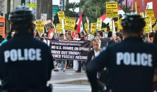 Demonstrators protest US air strikes