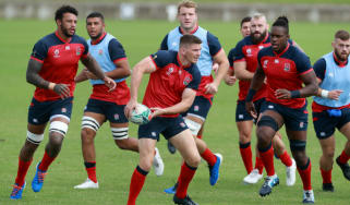 England captain Owen Farrell trains ahead of the Rugby World Cup pool C clash with Argentina
