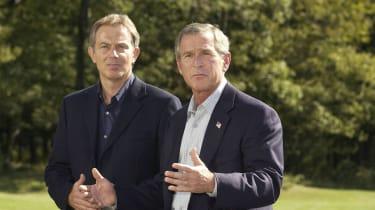 Tony Blair and George W. Bush at Camp David in 2002