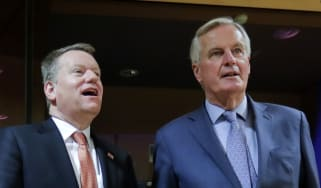 Michel Barnier and Lord David Frost pose for a photograph
