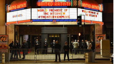 Security personnel outside The Theatre at Ace Hotel before the premiere of the film 'The Interview' in Los Angeles