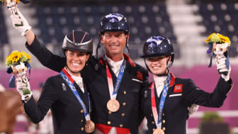 Charlotte Dujardin, Carl Hester and Charlotte Fry of Team GB