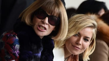 Editor-in-Chief of American Vogue Anna Wintour (L) and actress Sienna Miller attend the Calvin Klein fashion show during Mercedes-Benz Fashion Week Fall 2015 in New York on February 19, 2015.