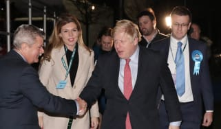 LONDON, ENGLAND - DECEMBER 13: Prime Minister Boris Johnson and his partner Carrie Symonds attend the vote count for his Uxbridge and South Ruislip constituency on December 13, 2019 in Uxbrid
